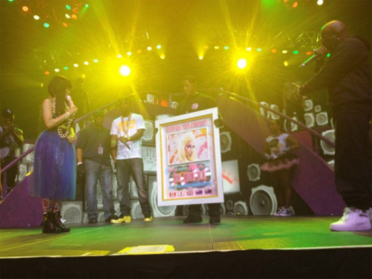 Birdman Presents Nicki Minaj With A Platinum Plaque In New Orleans For Her Latest Album