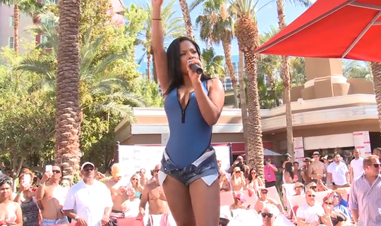 Christina Milian Arrives, Takes Part In An Interview & Performs Live At Go Pool In Flamingo Las Vegas