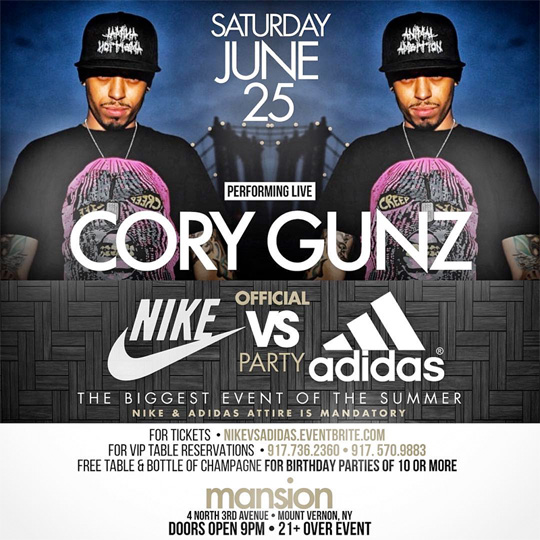 Cory Gunz To Perform Live At The Nike vs Adidas Party In New York