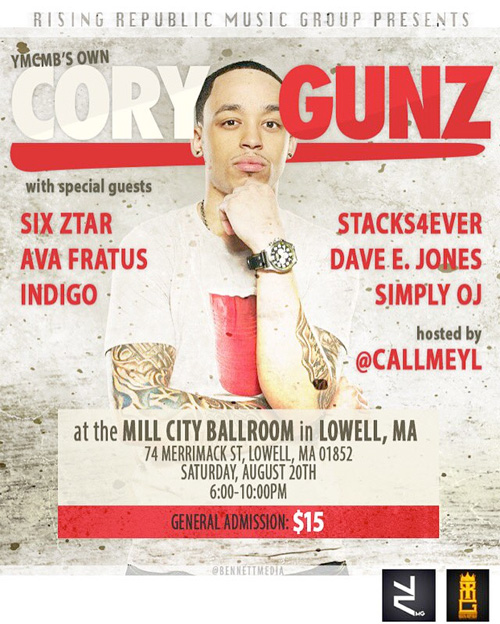 Cory Gunz To Perform Live At Mill City Ballroom Nightclub In Lowell Massachusetts