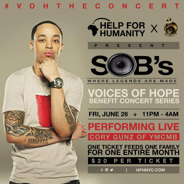 Cory Gunz To Perform Live At SOBs In New York For Voices Of Hope Concert
