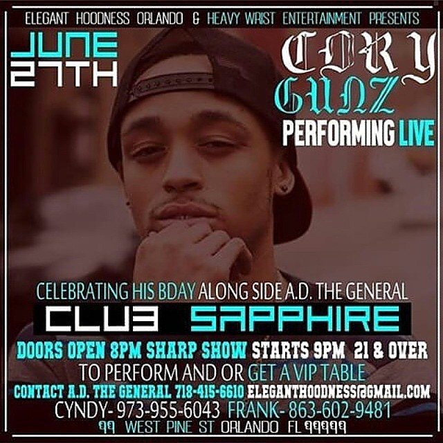 Cory Gunz Announces Event At Sapphire Room In Orlando Florida