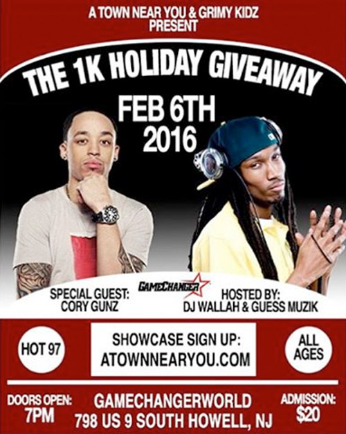 Cory Gunz Will Be A Special Guest At The 1K Holiday Giveaway In New Jersey