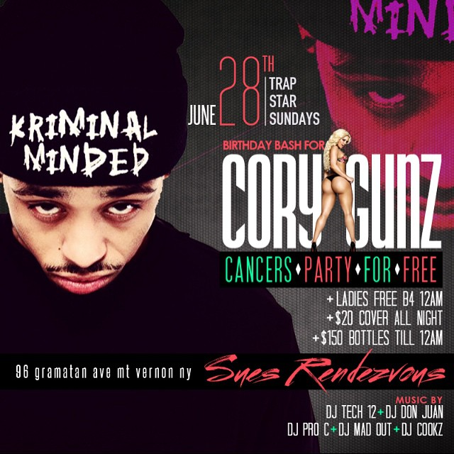 Cory Gunz Announces Event At Sues Rendezvous In New York