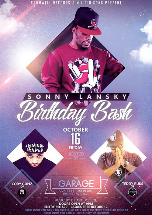 Cory Gunz To Host Sonny Lansky Birthday Bash At The Garage In Bronx New York