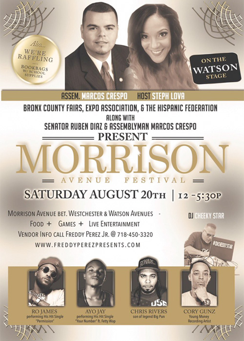 Cory Gunz To Perform Live At The 2016 Morrison Avenue Festival In The Bronx New York City