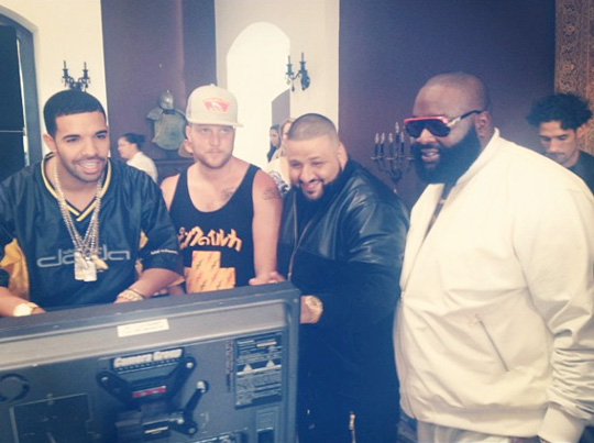 On Set Of DJ Khaled, Drake, Rick Ross & Lil Wayne No New Friends Video Shoot