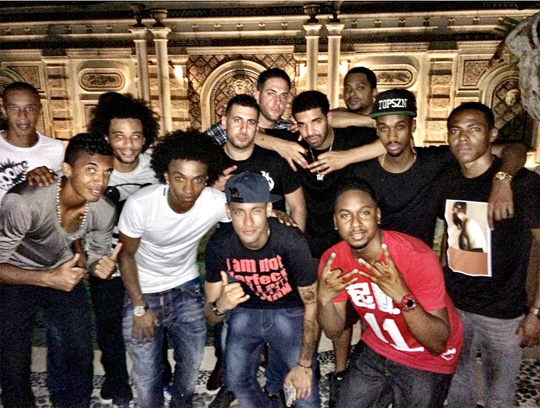 Drake Meets Brazil Soccer Team At The Versace Mansion In Miami