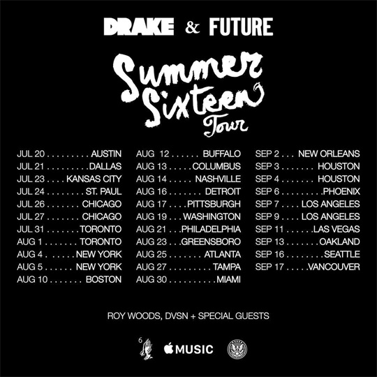 Drake Reveals Dates & Locations For His Summer Sixteen Tour With Future