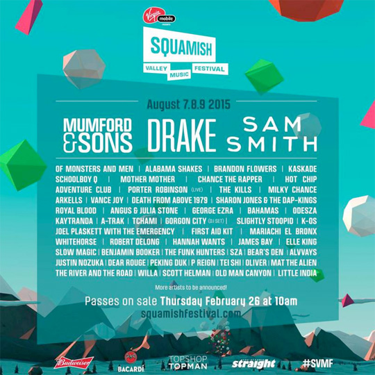 Drake Will Headline The 2015 Squamish Valley Music Festival In British Columbia