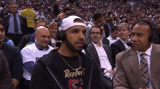 Drake Introduces Toronto Raptors Starting Lineup & Does An Interview With ESPN