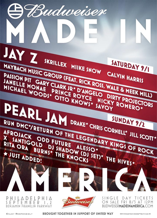 Drake Jay-Z Made In America Festival Poster