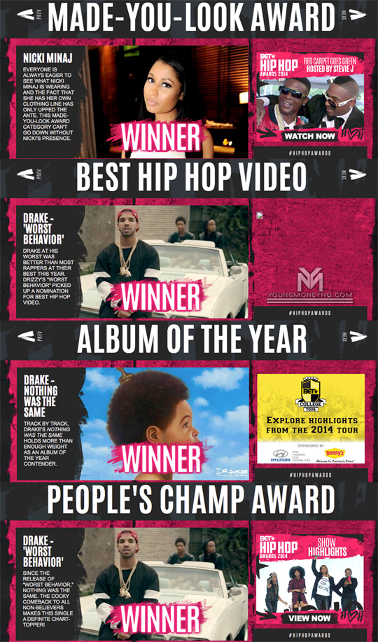 Drake & Nicki Minaj Both Win At The 2014 BET Hip-Hop Awards