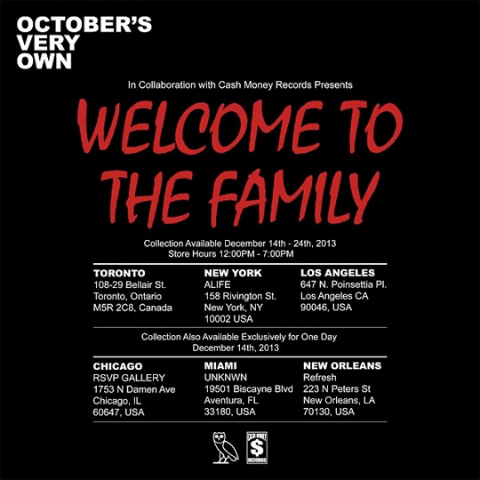 Drake Announces Dates & Locations For Pop-Up Stores To Sell His Welcome To The Family Clothing