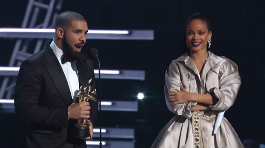 Drake Presents Rihanna With An MTV Video Vanguard Award At The 2016 VMAs