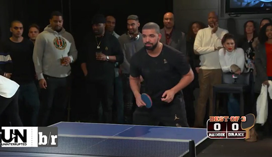 Drake Plays Reggie Miller In A 3 Round Ping Pong Match