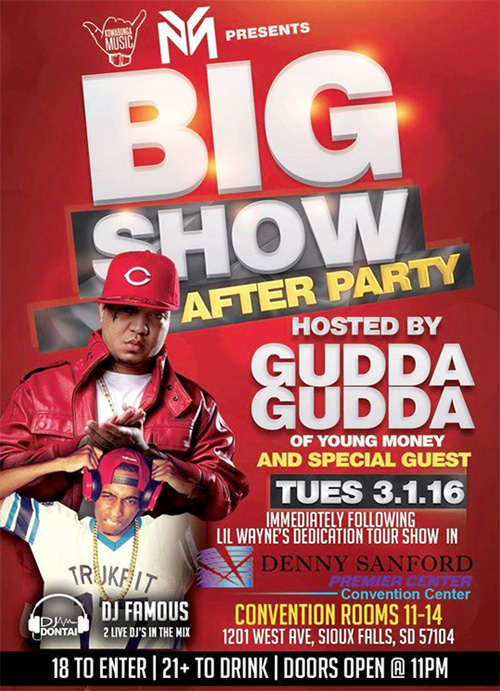 Gudda Gudda To Host The Big Show After Party At Denny Sanford Premier Center In Sioux Falls