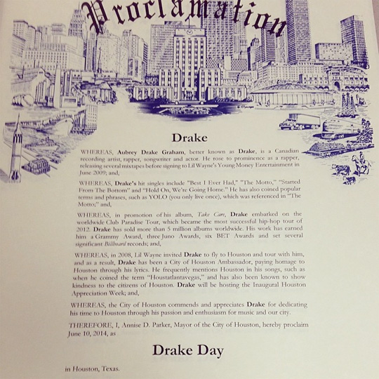 Mayor Annise Parker Makes June 10th Drake Day In Houston, Drake Attends Baseball Game At Minute Maid Park