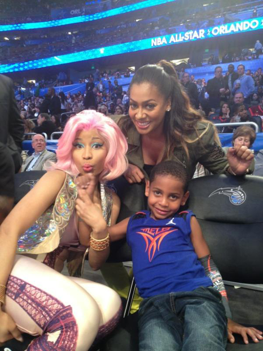 Nicki Minaj Performs & Watches 2012 NBA All Star Game