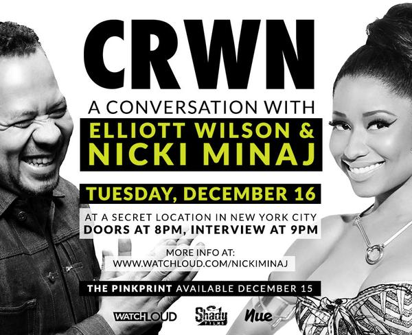 Nicki Minaj Will Be Interviewed By Elliott Wilson For CRWN On December 16th