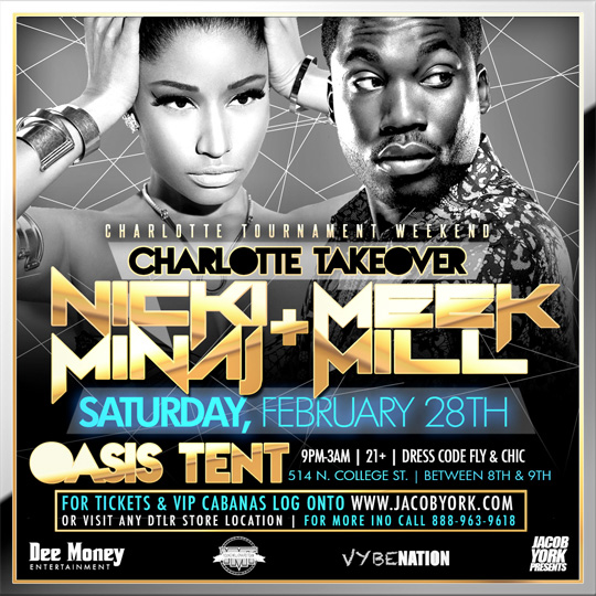 Nicki Minaj & Meek Mill To Host A Party At Oasis Tent In Charlotte For 2015 CIAA Weekend