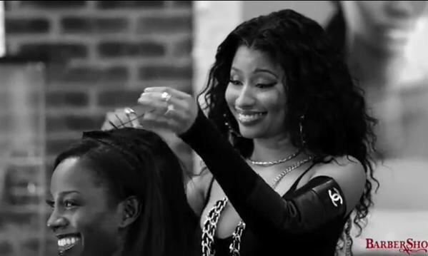 Nicki Minaj On Set Of The Barbershop 3 Film