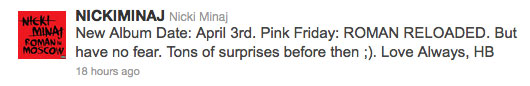 Nicki Minaj Pink Friday Roman Reloaded Album Pushed Back