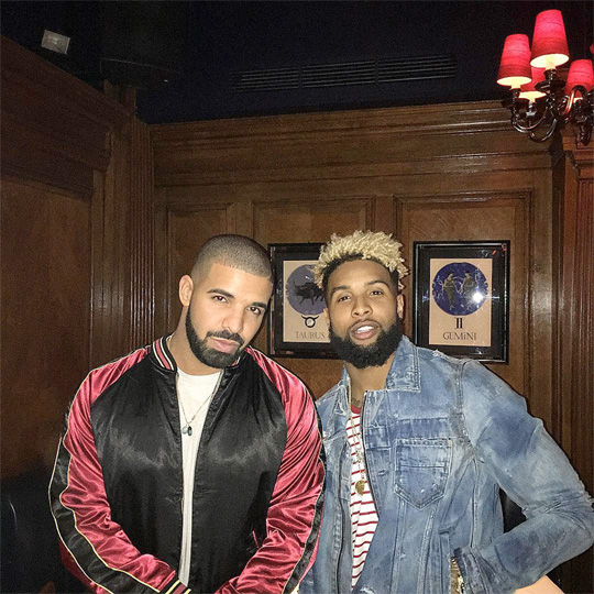 Drake & Odell Beckham Jr Sign Fan New York Giants Jersey During London Show