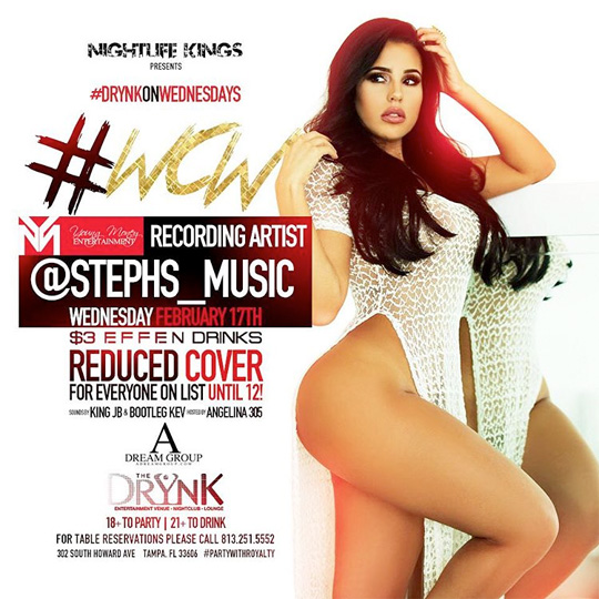 Stephanie Acevedo To Host An Event At The Drynk Bar In Tampa Florida