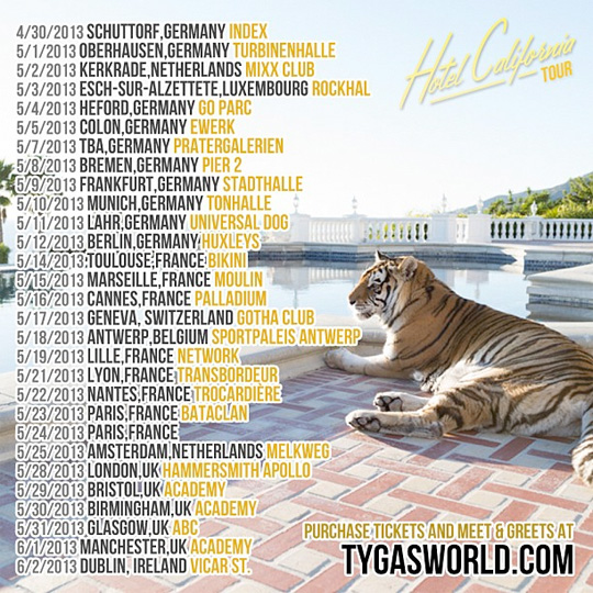 Tyga Announces Dates For His Upcoming Hotel California European Tour