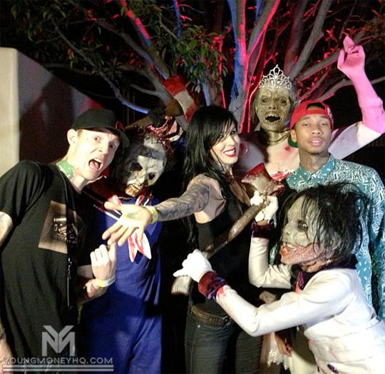 Tyga Visits Halloween Horror Nights With deadmau5 & Kat Von D In Los Angeles