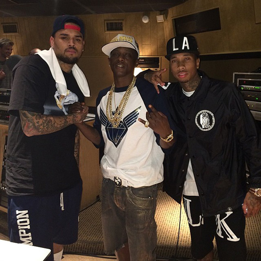 Tyga Hits The Studio With Chris Brown & Lil Boosie