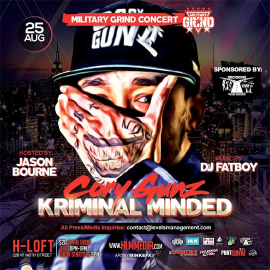 Cory Gunz To Host A Kriminal Minded Concert At The H Loft In Harlem New York City