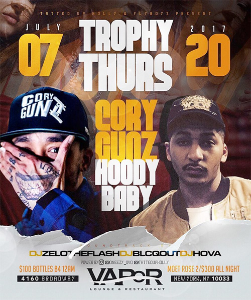Cory Gunz To Host Trophy Thursdays At Vapor Lounge & Restaurant In New York