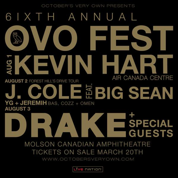 Drake Announces 6th Annual OVO Fest In Toronto, Reveals Lineup