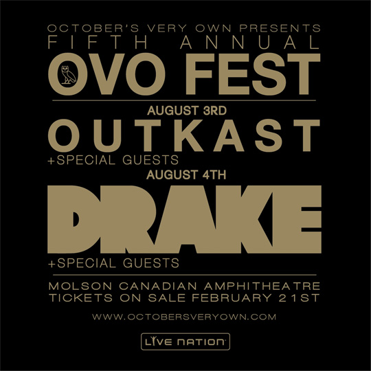 Drake & Outkast To Headline 5th Annual OVO Fest In August