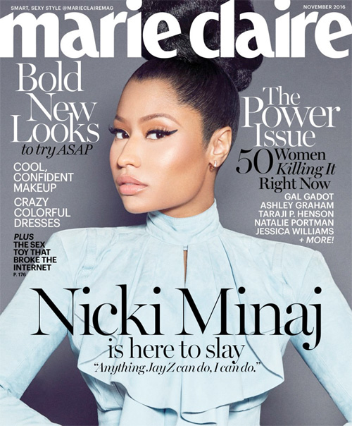 Nicki Minaj Covers Marie Claire Magazine, Talks Jay Z, Beyonce, Violence & More