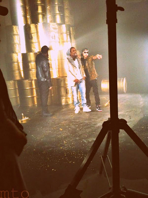 Pictures Of Tyga, Wale & Fabolous On Set Of The Rack City Remix Video Shoot